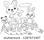 the two rabbits and the bear....   Shutterstock .eps vector #1287671407