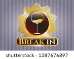 gold shiny badge with wine cup ... | Shutterstock .eps vector #1287676897