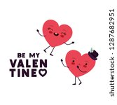 be my valentine with heart love ... | Shutterstock .eps vector #1287682951