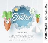 paper art of bunny in carrot... | Shutterstock .eps vector #1287683557