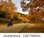motorbikes on the  travelers on ... | Shutterstock . vector #1287708541
