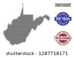 welcome collage of halftone map ... | Shutterstock .eps vector #1287718171