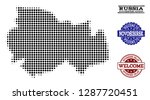 welcome collage of halftone map ... | Shutterstock .eps vector #1287720451