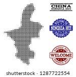 welcome combination of halftone ... | Shutterstock .eps vector #1287722554