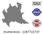 welcome collage of halftone map ... | Shutterstock .eps vector #1287722737