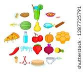 workpiece icons set. cartoon... | Shutterstock .eps vector #1287725791