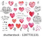 big watercolor valentine's day... | Shutterstock . vector #1287731131