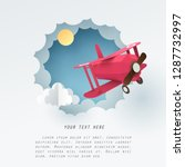 paper art of red airplane fly... | Shutterstock .eps vector #1287732997