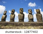 statues at easter island | Shutterstock . vector #12877402