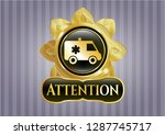 shiny badge with ambulance... | Shutterstock .eps vector #1287745717