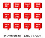 set of red sale icon banners in ...   Shutterstock .eps vector #1287747304