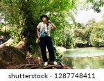 traveler thai woman travel and... | Shutterstock . vector #1287748411