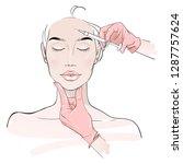 beauty injection. doctor hands... | Shutterstock .eps vector #1287757624