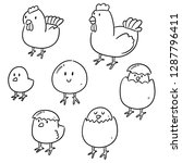 vector set of chicken and egg | Shutterstock .eps vector #1287796411