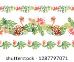 tropical flower and flamingo... | Shutterstock . vector #1287797071