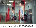 adult woman practices aero anti ... | Shutterstock . vector #1287806167