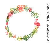 tropical flower and flamingo... | Shutterstock . vector #1287807064