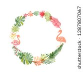 hand drawn tropical flower and... | Shutterstock . vector #1287807067