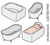 vector set of bathtub | Shutterstock .eps vector #1287807904