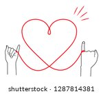 heart shaped red thread | Shutterstock .eps vector #1287814381