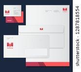 m letter. m origami monogram... | Shutterstock .eps vector #1287818554