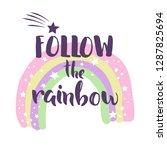 cute rainbow print. t shirt... | Shutterstock .eps vector #1287825694