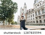 a young man or tourist or... | Shutterstock . vector #1287835594