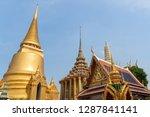 golden pagoda and temple of wat ...   Shutterstock . vector #1287841141