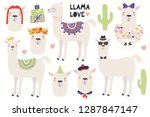 set of cute llamas  in a crown  ... | Shutterstock .eps vector #1287847147