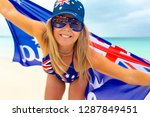 happy smiling woman wearing... | Shutterstock . vector #1287849451