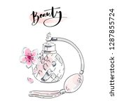 perfume bottle with pink... | Shutterstock .eps vector #1287855724