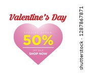 50  discount for valentine's... | Shutterstock .eps vector #1287867871