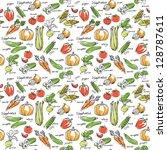 assorted vegetables seamless... | Shutterstock .eps vector #128787611