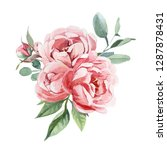 Stock photo watercolor illustration of light pink flowers and green leaves bouquet of peony and blosom flowers 1287878431