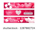 set of valentine's day holiday... | Shutterstock .eps vector #1287882724