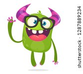 cartoon cute monster wearing... | Shutterstock .eps vector #1287889234