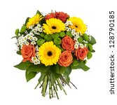 Stock photo bouquet of yellow and orange flowers isolated on white background 128790185