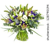 Stock photo bouquet of field flowers isolated on white 128790194
