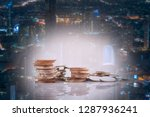 double exposure of city and... | Shutterstock . vector #1287936241