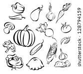 vegetables icon set sketch... | Shutterstock .eps vector #128794159