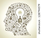 human head and science icons.... | Shutterstock .eps vector #128794579