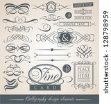 set of vintage calligraphic... | Shutterstock .eps vector #128798959