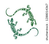 lizards maori style. tattoo... | Shutterstock .eps vector #1288014367