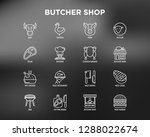 butcher shop thin line icons...   Shutterstock .eps vector #1288022674