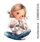 Stock photo cute cartoon summer girl with little hares 1288040131