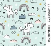 cute seamless unicorn pattern...   Shutterstock .eps vector #1288060447