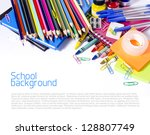 school supplies on white... | Shutterstock . vector #128807749