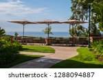 outdoor patio area at resort... | Shutterstock . vector #1288094887