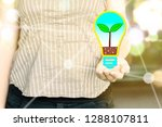 Woman Holding A Light Bulb With ...