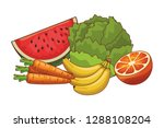 vegetables and fruits | Shutterstock .eps vector #1288108204